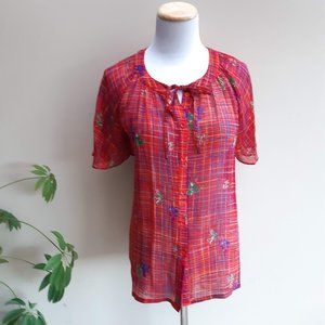 Red Check Blouse | Floral Print Button up